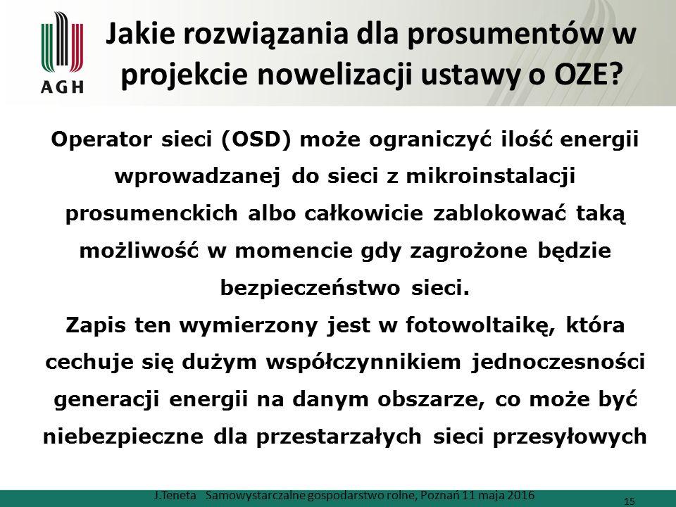 Jakie rozwiązania dla prosumentów w projekcie nowelizacji ustawy o OZE? J.Teneta Samowystarczalne gospodarstwo rolne, Poznań 11 maja 2016 15 Operator