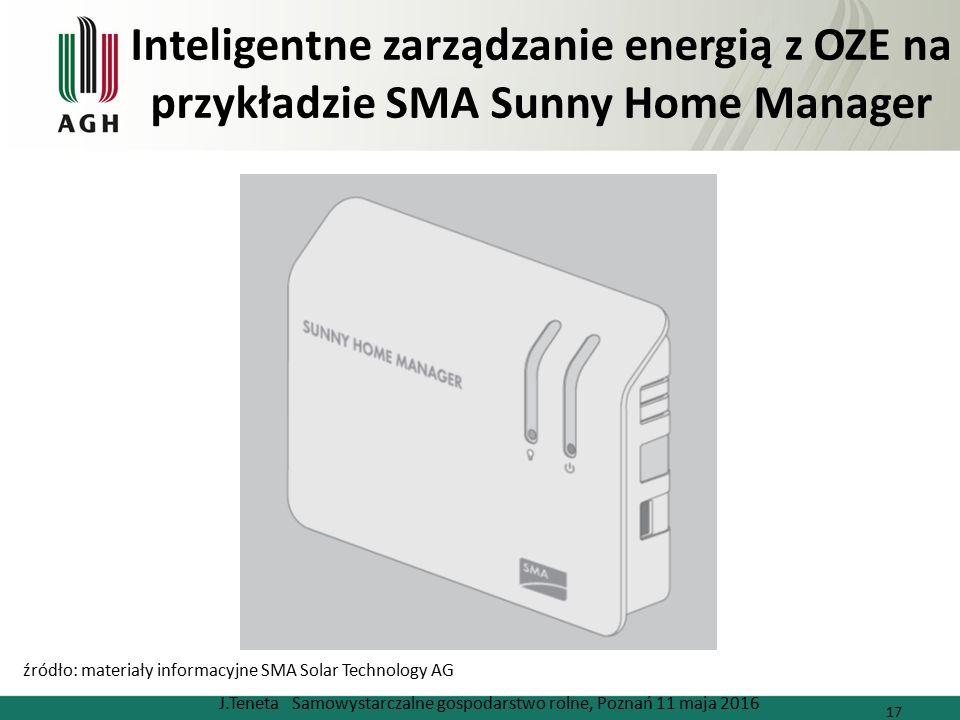 Inteligentne zarządzanie energią z OZE na przykładzie SMA Sunny Home Manager J.Teneta Samowystarczalne gospodarstwo rolne, Poznań 11 maja 2016 17 źródło: materiały informacyjne SMA Solar Technology AG