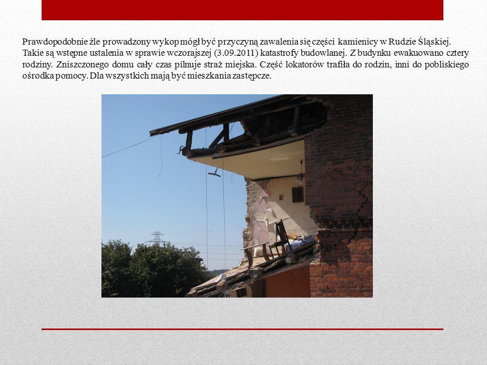 Prawdopodobnie źle prowadzony wykop mógł być przyczyną zawalenia się części kamienicy w Rudzie Śląskiej.