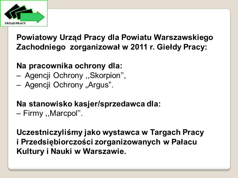 Powiatowy Urząd Pracy dla Powiatu Warszawskiego Zachodniego zorganizował w 2011 r.