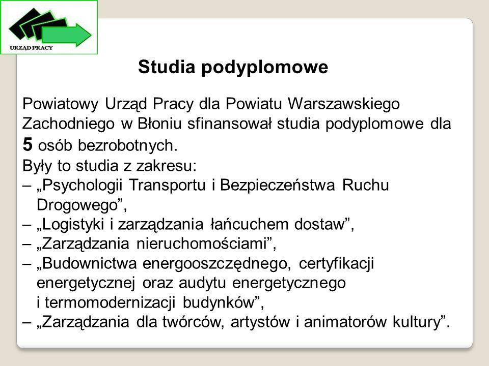 Powiatowy Urząd Pracy dla Powiatu Warszawskiego Zachodniego w Błoniu sfinansował studia podyplomowe dla 5 osób bezrobotnych.