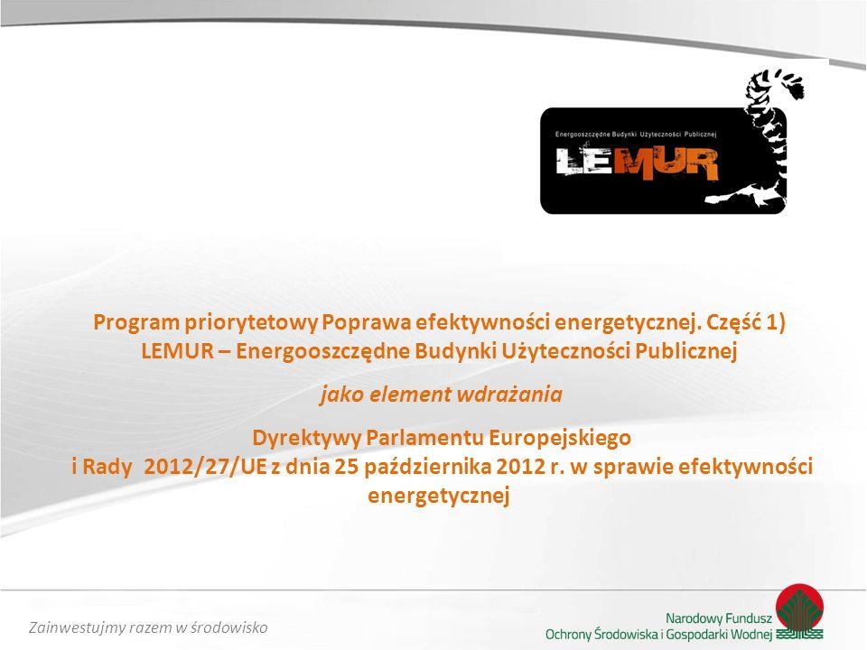 Zainwestujmy razem w środowisko Program priorytetowy Poprawa efektywności energetycznej.