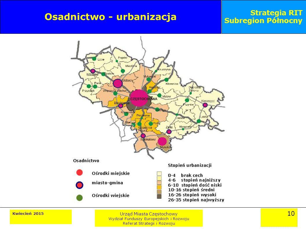 10 Kwiecień 2015 Urząd Miasta Częstochowy Wydział Funduszy Europejskich i Rozwoju Referat Strategii i Rozwoju Strategia RIT Subregion Północny Osadnictwo - urbanizacja