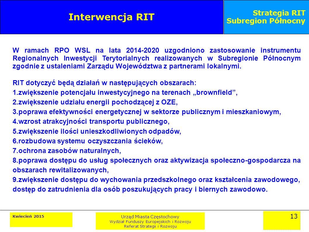 13 Kwiecień 2015 Urząd Miasta Częstochowy Wydział Funduszy Europejskich i Rozwoju Referat Strategii i Rozwoju Strategia RIT Subregion Północny Interwencja RIT W ramach RPO WSL na lata 2014-2020 uzgodniono zastosowanie instrumentu Regionalnych Inwestycji Terytorialnych realizowanych w Subregionie Północnym zgodnie z ustaleniami Zarządu Województwa z partnerami lokalnymi.