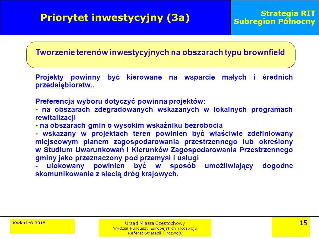 15 Kwiecień 2015 Urząd Miasta Częstochowy Wydział Funduszy Europejskich i Rozwoju Referat Strategii i Rozwoju Strategia RIT Subregion Północny Priorytet inwestycyjny (3a) Tworzenie terenów inwestycyjnych na obszarach typu brownfield Projekty powinny być kierowane na wsparcie małych i średnich przedsiębiorstw..