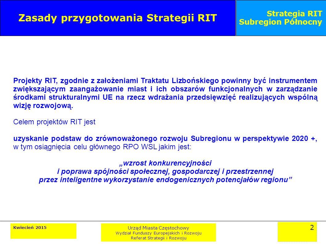 2 Kwiecień 2015 Urząd Miasta Częstochowy Wydział Funduszy Europejskich i Rozwoju Referat Strategii i Rozwoju Strategia RIT Subregion Północny Zasady przygotowania Strategii RIT Projekty RIT, zgodnie z założeniami Traktatu Lizbońskiego powinny być instrumentem zwiększającym zaangażowanie miast i ich obszarów funkcjonalnych w zarządzanie środkami strukturalnymi UE na rzecz wdrażania przedsięwzięć realizujących wspólną wizję rozwojową.
