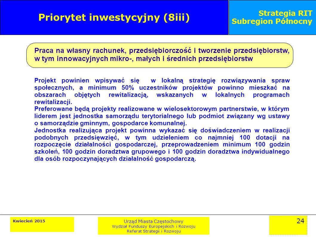 24 Kwiecień 2015 Urząd Miasta Częstochowy Wydział Funduszy Europejskich i Rozwoju Referat Strategii i Rozwoju Strategia RIT Subregion Północny Priorytet inwestycyjny (8iii) Praca na własny rachunek, przedsiębiorczość i tworzenie przedsiębiorstw, w tym innowacyjnych mikro-, małych i średnich przedsiębiorstw Projekt powinien wpisywać się w lokalną strategię rozwiązywania spraw społecznych, a minimum 50% uczestników projektów powinno mieszkać na obszarach objętych rewitalizacją, wskazanych w lokalnych programach rewitalizacji.