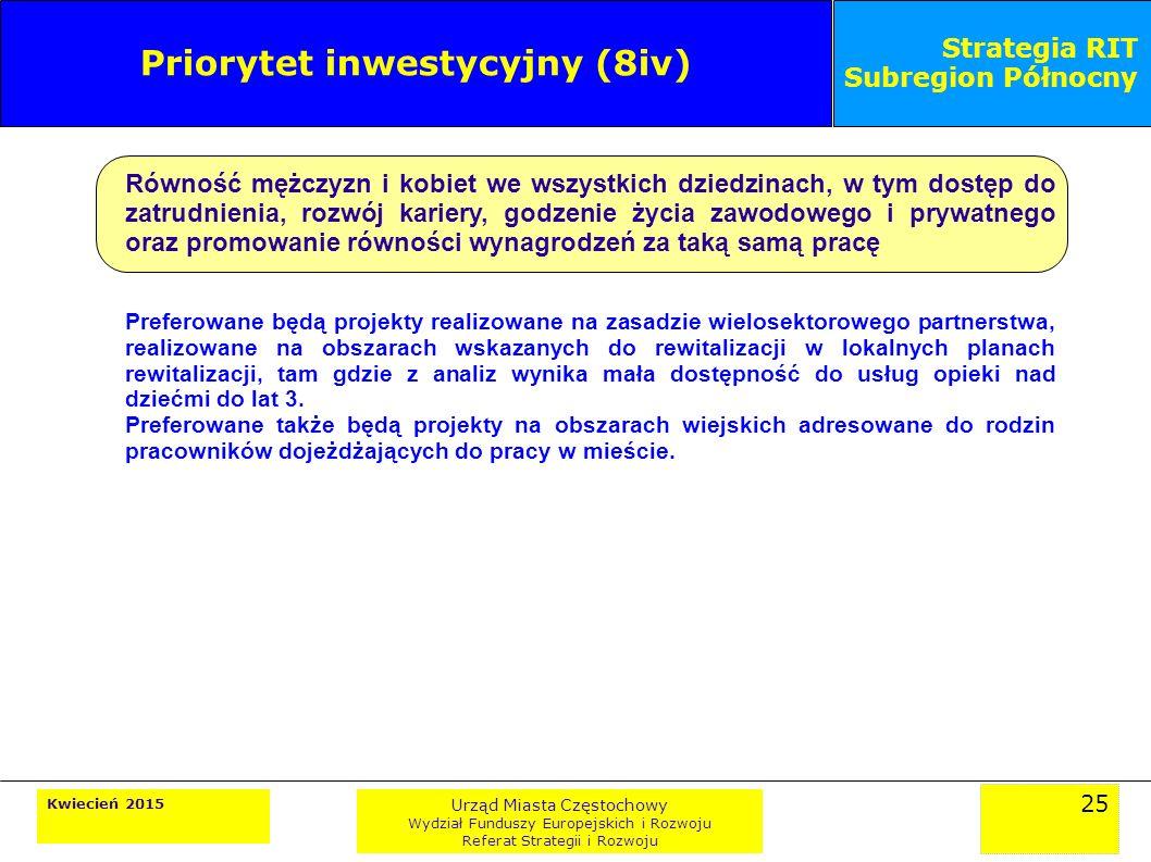 25 Kwiecień 2015 Urząd Miasta Częstochowy Wydział Funduszy Europejskich i Rozwoju Referat Strategii i Rozwoju Strategia RIT Subregion Północny Priorytet inwestycyjny (8iv) Równość mężczyzn i kobiet we wszystkich dziedzinach, w tym dostęp do zatrudnienia, rozwój kariery, godzenie życia zawodowego i prywatnego oraz promowanie równości wynagrodzeń za taką samą pracę Preferowane będą projekty realizowane na zasadzie wielosektorowego partnerstwa, realizowane na obszarach wskazanych do rewitalizacji w lokalnych planach rewitalizacji, tam gdzie z analiz wynika mała dostępność do usług opieki nad dziećmi do lat 3.