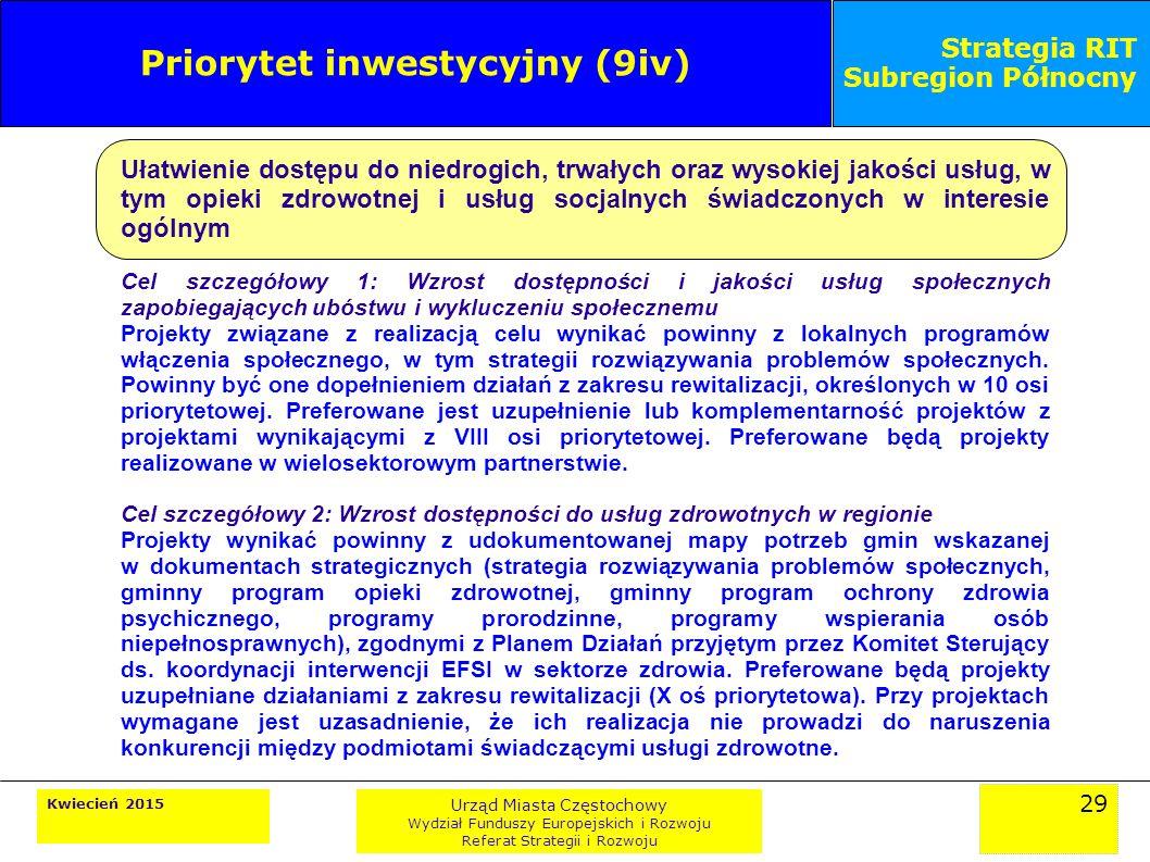 29 Kwiecień 2015 Urząd Miasta Częstochowy Wydział Funduszy Europejskich i Rozwoju Referat Strategii i Rozwoju Strategia RIT Subregion Północny Priorytet inwestycyjny (9iv) Ułatwienie dostępu do niedrogich, trwałych oraz wysokiej jakości usług, w tym opieki zdrowotnej i usług socjalnych świadczonych w interesie ogólnym Cel szczegółowy 1: Wzrost dostępności i jakości usług społecznych zapobiegających ubóstwu i wykluczeniu społecznemu Projekty związane z realizacją celu wynikać powinny z lokalnych programów włączenia społecznego, w tym strategii rozwiązywania problemów społecznych.