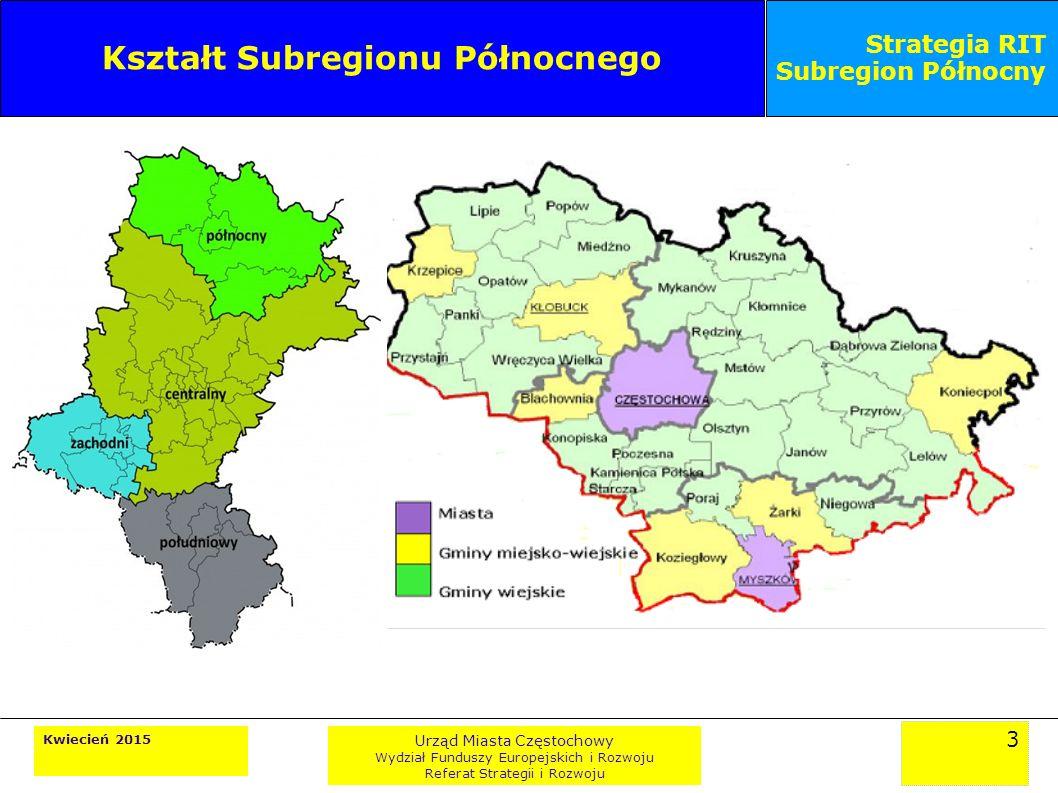 3 Kwiecień 2015 Urząd Miasta Częstochowy Wydział Funduszy Europejskich i Rozwoju Referat Strategii i Rozwoju Strategia RIT Subregion Północny Kształt Subregionu Północnego