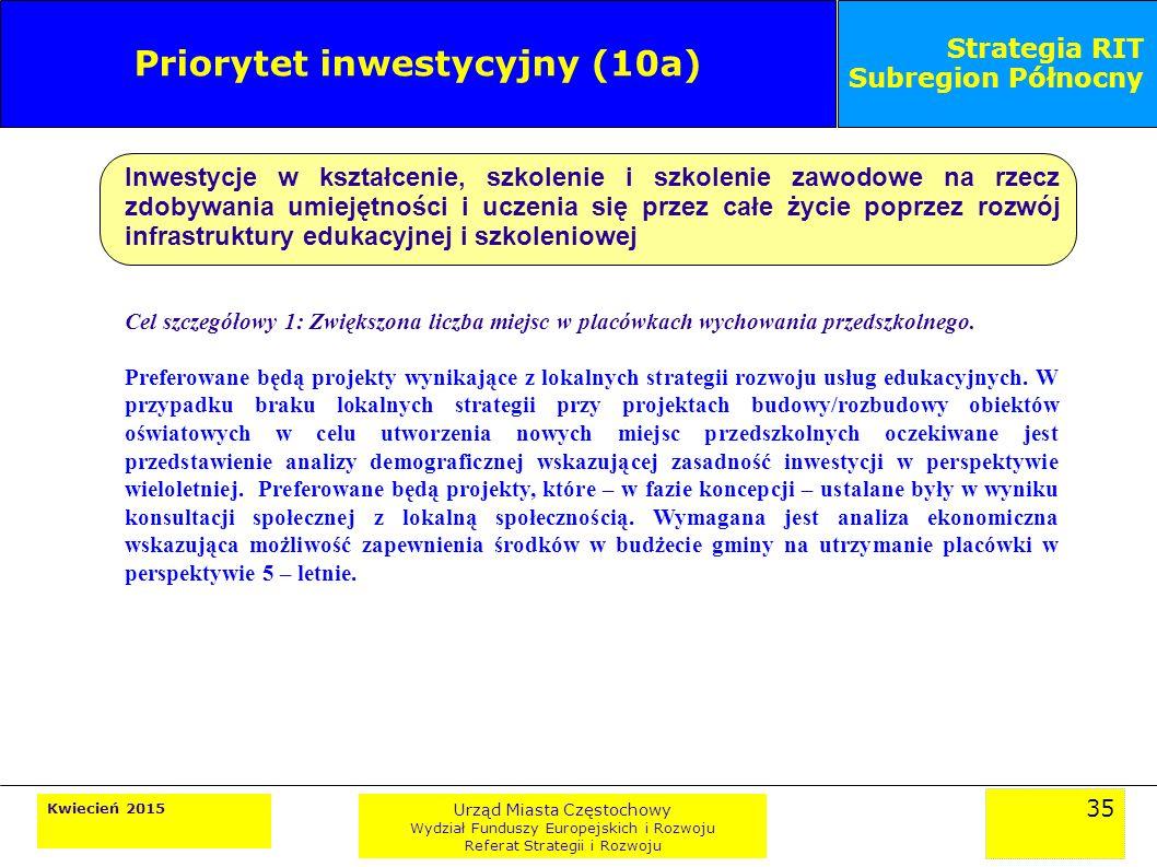 35 Kwiecień 2015 Urząd Miasta Częstochowy Wydział Funduszy Europejskich i Rozwoju Referat Strategii i Rozwoju Strategia RIT Subregion Północny Priorytet inwestycyjny (10a) Inwestycje w kształcenie, szkolenie i szkolenie zawodowe na rzecz zdobywania umiejętności i uczenia się przez całe życie poprzez rozwój infrastruktury edukacyjnej i szkoleniowej Cel szczegółowy 1: Zwiększona liczba miejsc w placówkach wychowania przedszkolnego.