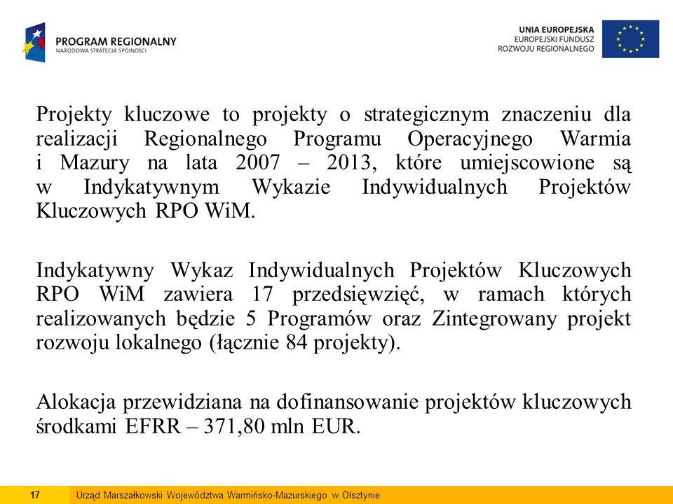 17Urząd Marszałkowski Województwa Warmińsko-Mazurskiego w Olsztynie Projekty kluczowe to projekty o strategicznym znaczeniu dla realizacji Regionalnego Programu Operacyjnego Warmia i Mazury na lata 2007 – 2013, które umiejscowione są w Indykatywnym Wykazie Indywidualnych Projektów Kluczowych RPO WiM.
