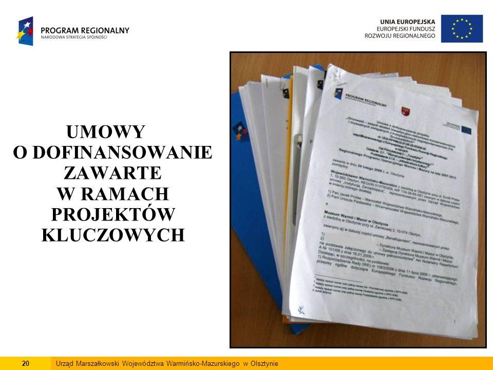 20Urząd Marszałkowski Województwa Warmińsko-Mazurskiego w Olsztynie UMOWY O DOFINANSOWANIE ZAWARTE W RAMACH PROJEKTÓW KLUCZOWYCH