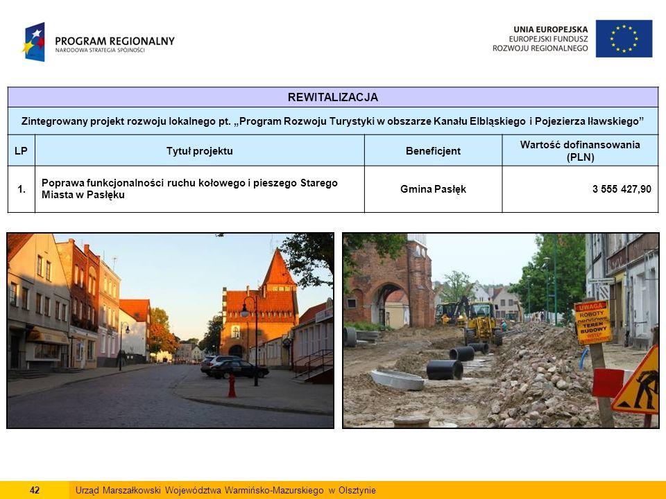 42Urząd Marszałkowski Województwa Warmińsko-Mazurskiego w Olsztynie REWITALIZACJA Zintegrowany projekt rozwoju lokalnego pt.