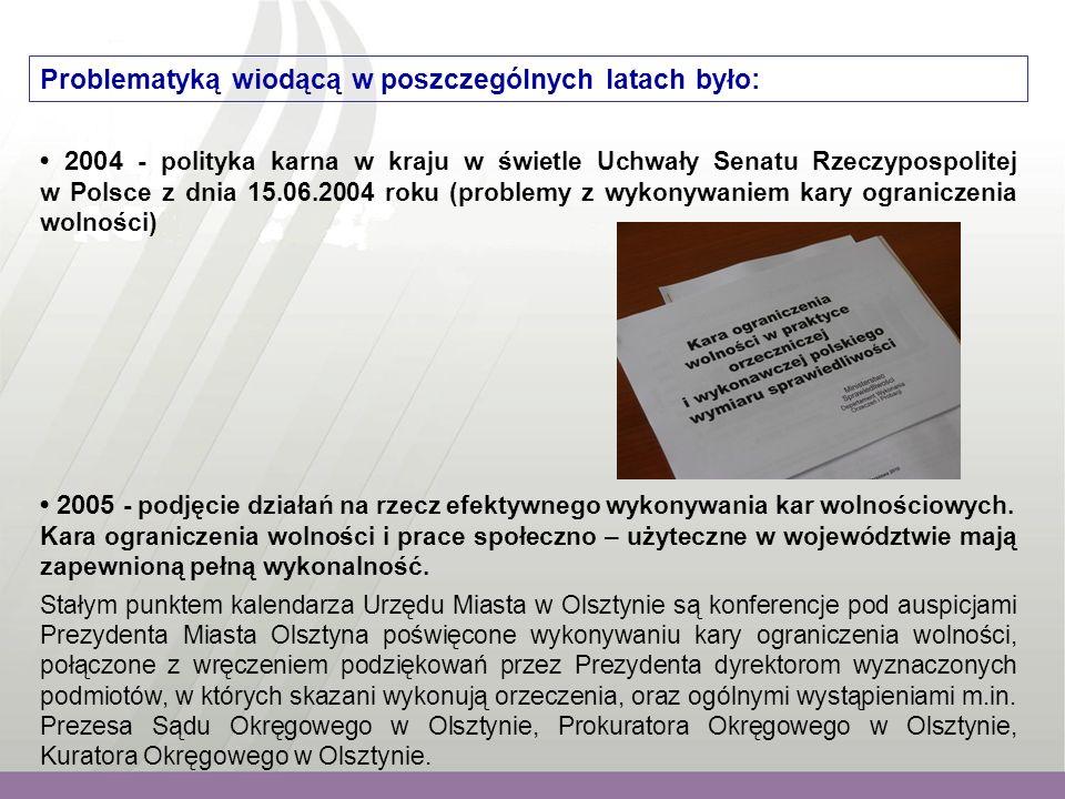 Problematyką wiodącą w poszczególnych latach było: 2004 - polityka karna w kraju w świetle Uchwały Senatu Rzeczypospolitej w Polsce z dnia 15.06.2004 roku (problemy z wykonywaniem kary ograniczenia wolności) 2005 - podjęcie działań na rzecz efektywnego wykonywania kar wolnościowych.