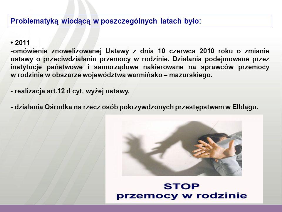 Problematyką wiodącą w poszczególnych latach było: 2011 -omówienie znowelizowanej Ustawy z dnia 10 czerwca 2010 roku o zmianie ustawy o przeciwdziałaniu przemocy w rodzinie.