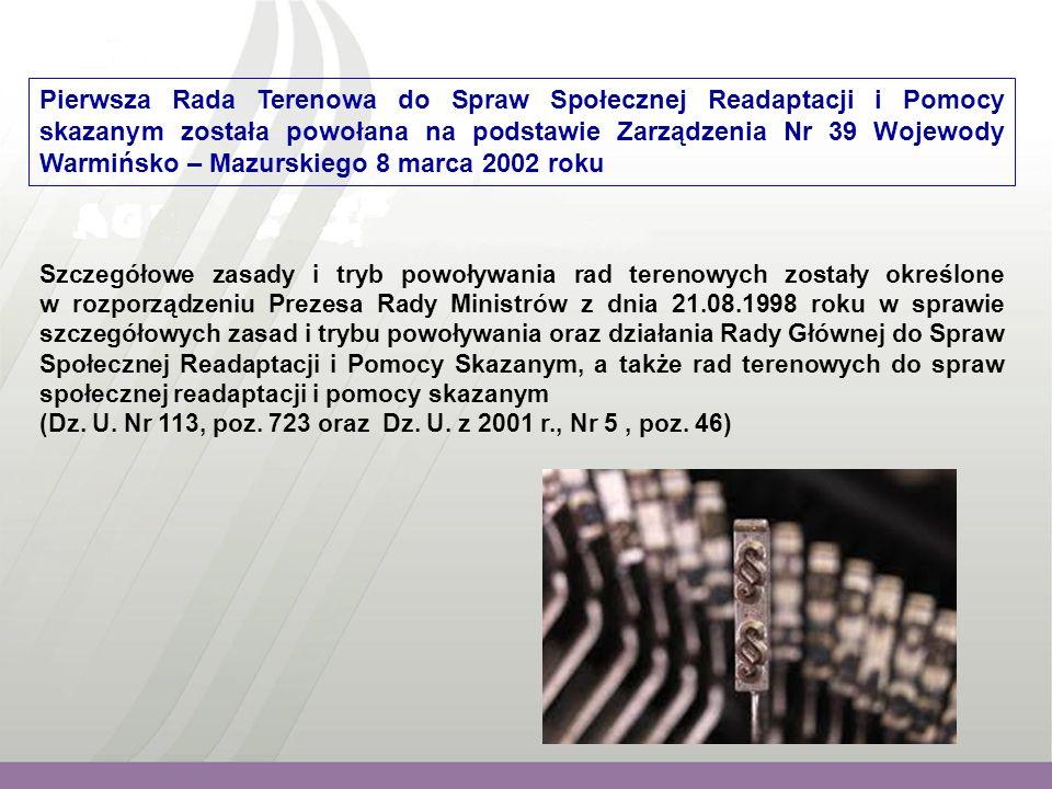 """Problematyką wiodącą w poszczególnych latach było: 2002 - z inicjatywy Dyrektora Wojewódzkiego Urzędu Pracy w Olsztynie podjęto wspólne działania na rzecz osób opuszczających zakłady karne w formie realizacji pilotażowego programu: """"Przywracanie na otwarty rynek osób powracających z zakładów karnych ."""