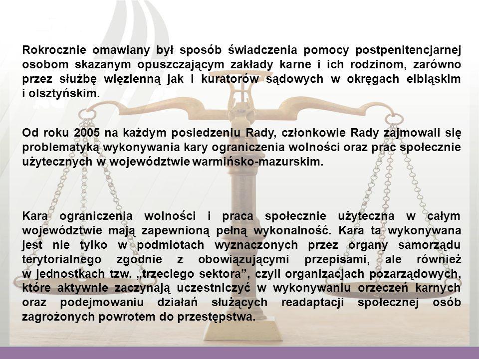 Od roku 2005 na każdym posiedzeniu Rady, członkowie Rady zajmowali się problematyką wykonywania kary ograniczenia wolności oraz prac społecznie użytecznych w województwie warmińsko-mazurskim.