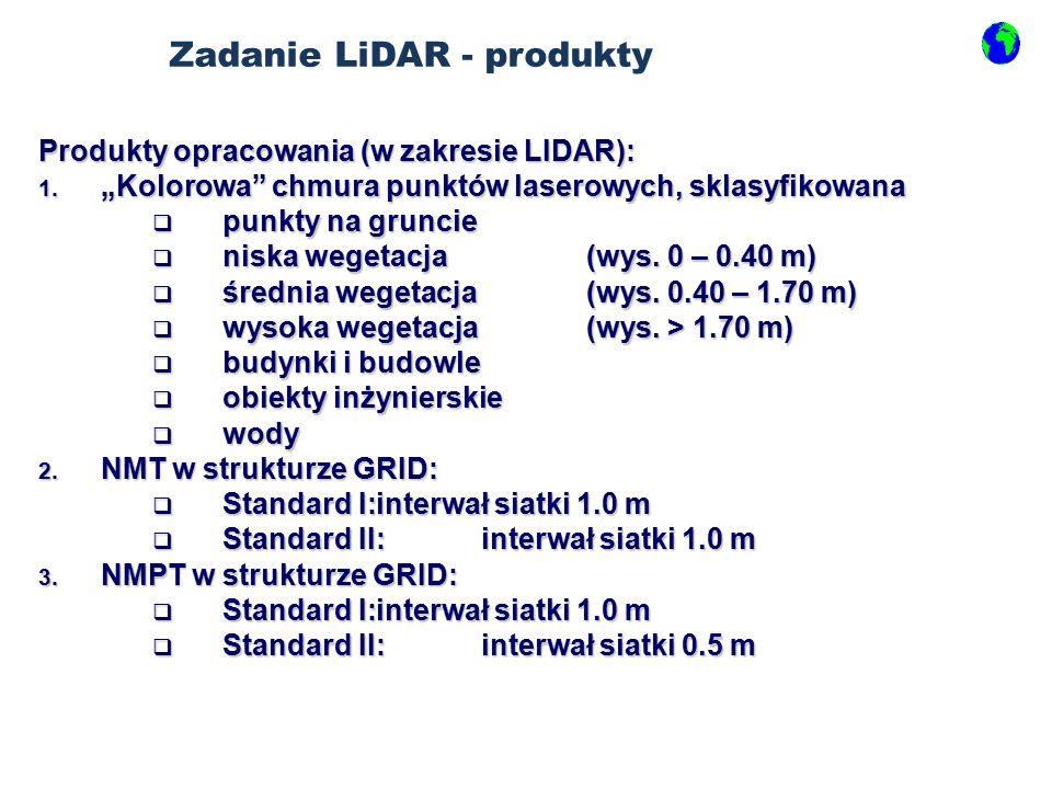 Produkty opracowania (w zakresie LIDAR): 1.