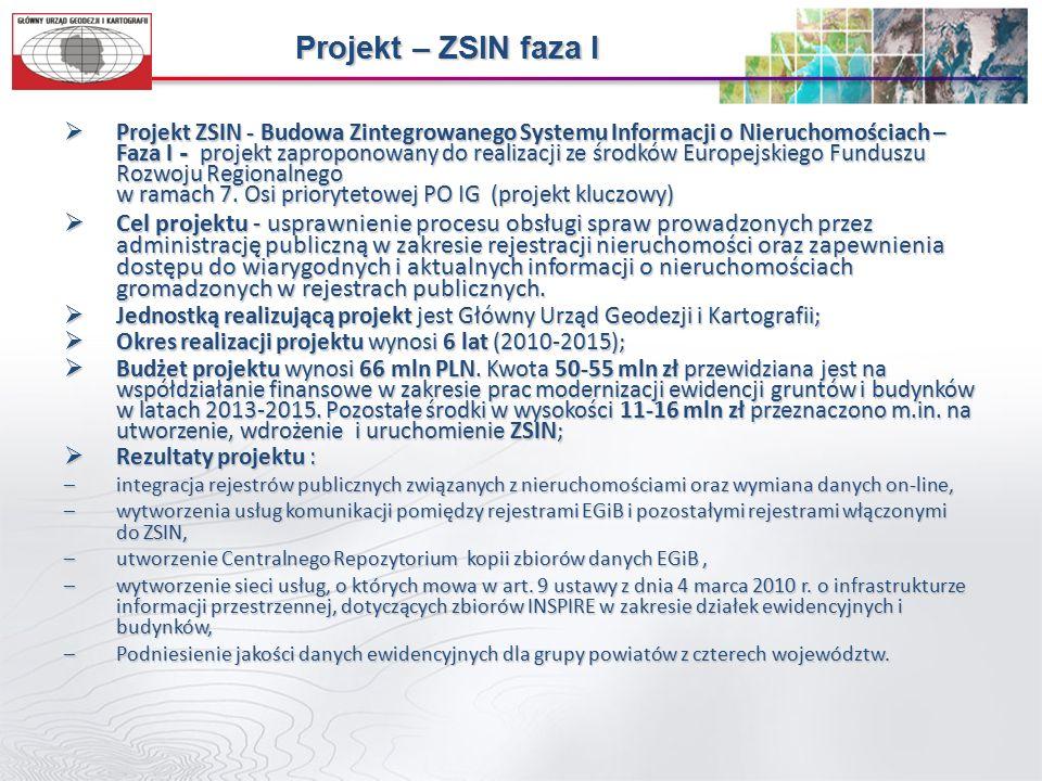 Projekt – ZSIN faza I  Projekt ZSIN - Budowa Zintegrowanego Systemu Informacji o Nieruchomościach – Faza I - projekt zaproponowany do realizacji ze środków Europejskiego Funduszu Rozwoju Regionalnego w ramach 7.