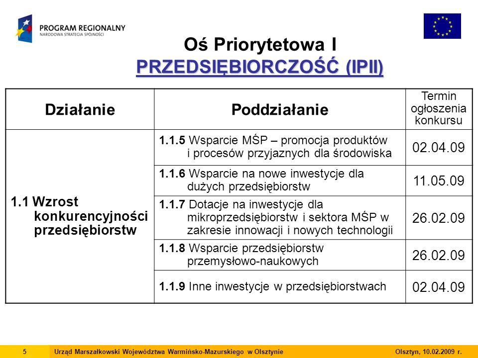 PRZEDSIĘBIORCZOŚĆ (IPII) Oś Priorytetowa I PRZEDSIĘBIORCZOŚĆ (IPII) 5Urząd Marszałkowski Województwa Warmińsko-Mazurskiego w Olsztynie Olsztyn, 10.02.2009 r.