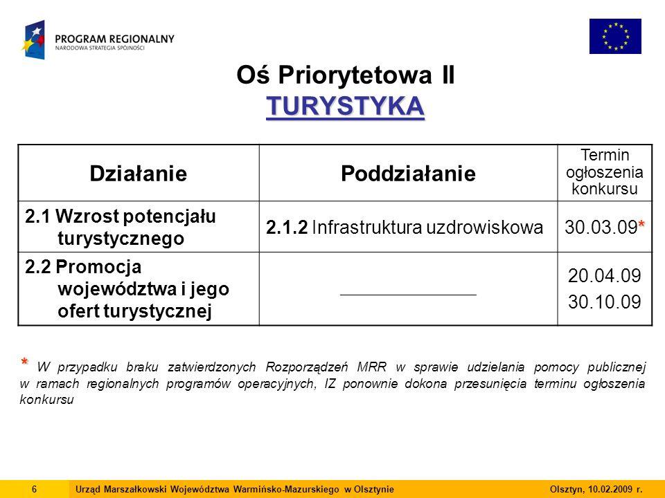 TURYSTYKA Oś Priorytetowa II TURYSTYKA 6Urząd Marszałkowski Województwa Warmińsko-Mazurskiego w Olsztynie Olsztyn, 10.02.2009 r.