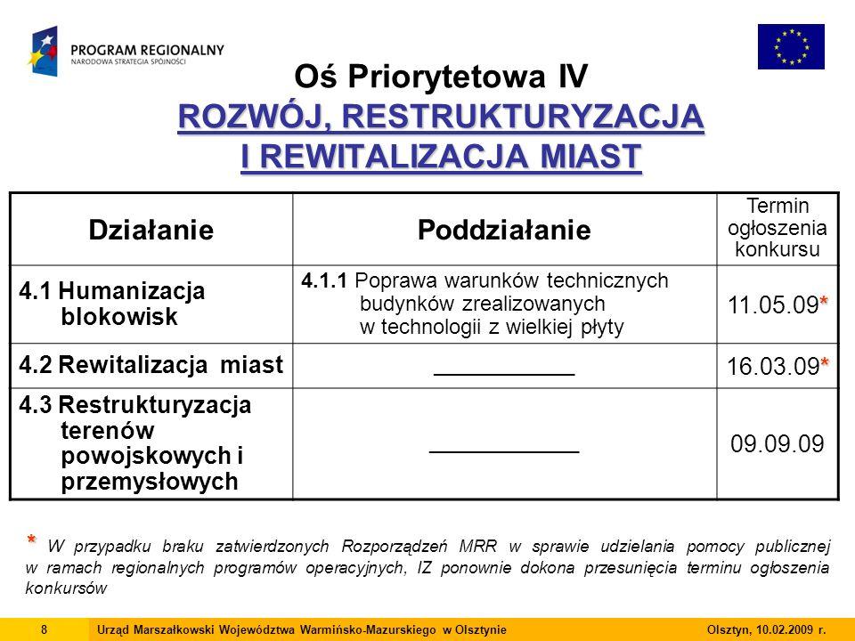 ROZWÓJ, RESTRUKTURYZACJA I REWITALIZACJA MIAST Oś Priorytetowa IV ROZWÓJ, RESTRUKTURYZACJA I REWITALIZACJA MIAST 8Urząd Marszałkowski Województwa Warmińsko-Mazurskiego w Olsztynie Olsztyn, 10.02.2009 r.