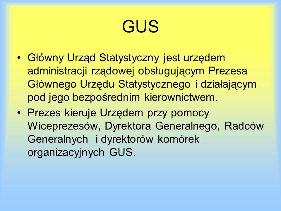 GUS Główny Urząd Statystyczny jest urzędem administracji rządowej obsługującym Prezesa Głównego Urzędu Statystycznego i działającym pod jego bezpośrednim kierownictwem.