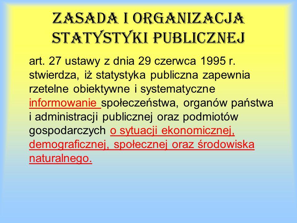 Zasada i organizacja statystyki publicznej art. 27 ustawy z dnia 29 czerwca 1995 r.