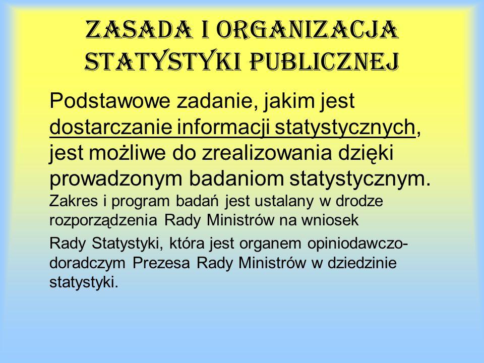 Zasada i organizacja statystyki publicznej Podstawowe zadanie, jakim jest dostarczanie informacji statystycznych, jest możliwe do zrealizowania dzięki prowadzonym badaniom statystycznym.