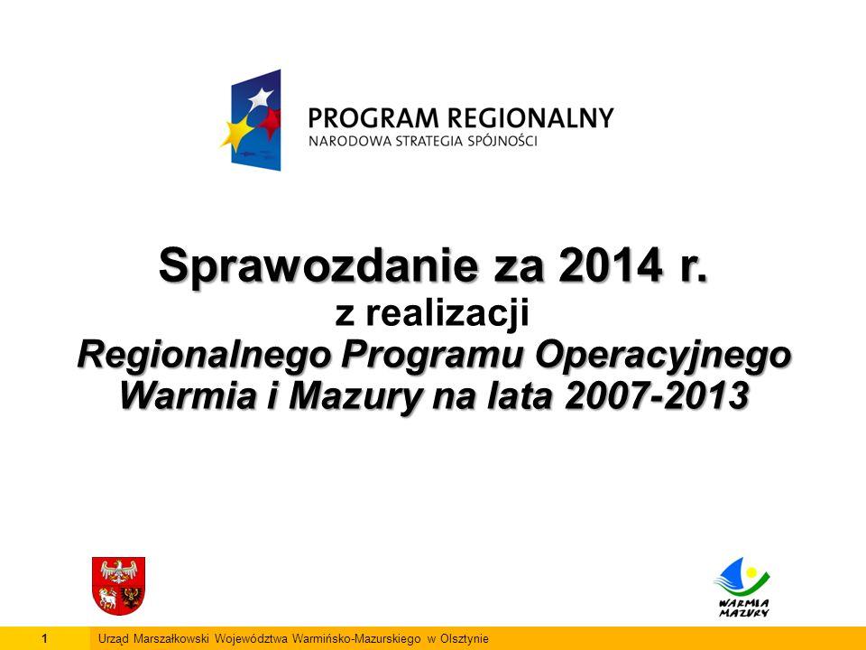 2Urząd Marszałkowski Województwa Warmińsko-Mazurskiego w Olsztynie Wykorzystanie środków EFRR w ramach RPO WiM od uruchomienia Programu