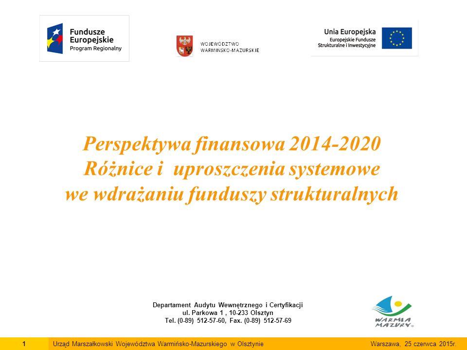 Perspektywa finansowa 2014-2020 Różnice i uproszczenia systemowe we wdrażaniu funduszy strukturalnych Departament Audytu Wewnętrznego i Certyfikacji ul.