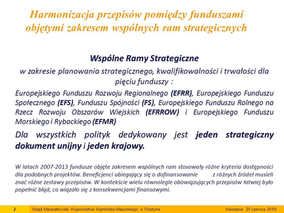 Wspólne Ramy Strategiczne w zakresie planowania strategicznego, kwalifikowalności i trwałości dla pięciu funduszy : Europejskiego Funduszu Rozwoju Regionalnego (EFRR), Europejskiego Funduszu Społecznego (EFS), Funduszu Spójności (FS), Europejskiego Funduszu Rolnego na Rzecz Rozwoju Obszarów Wiejskich (EFRROW) i Europejskiego Funduszu Morskiego i Rybackiego (EFMR) Dla wszystkich polityk dedykowany jest jeden strategiczny dokument unijny i jeden krajowy.