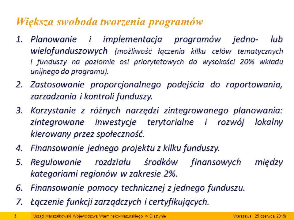 1.Planowanie i implementacja programów jedno- lub wielofunduszowych (możliwość łączenia kilku celów tematycznych i funduszy na poziomie osi priorytetowych do wysokości 20% wkładu unijnego do programu).