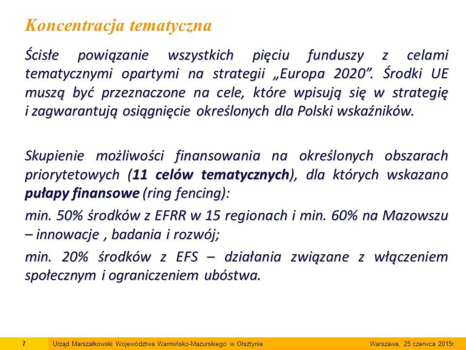 """Ścisłe powiązanie wszystkich pięciu funduszy z celami tematycznymi opartymi na strategii """"Europa 2020"""". Środki UE muszą być przeznaczone na cele, któr"""
