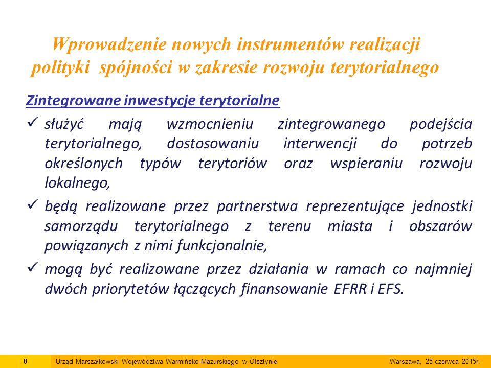 Zintegrowane inwestycje terytorialne służyć mają wzmocnieniu zintegrowanego podejścia terytorialnego, dostosowaniu interwencji do potrzeb określonych typów terytoriów oraz wspieraniu rozwoju lokalnego, będą realizowane przez partnerstwa reprezentujące jednostki samorządu terytorialnego z terenu miasta i obszarów powiązanych z nimi funkcjonalnie, mogą być realizowane przez działania w ramach co najmniej dwóch priorytetów łączących finansowanie EFRR i EFS.