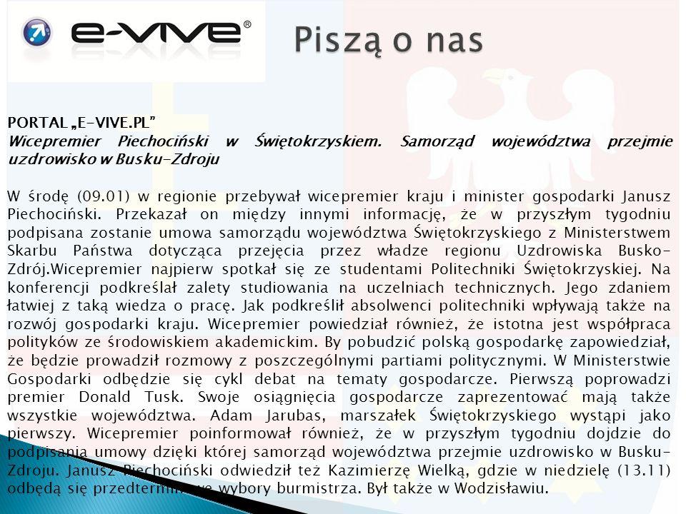 """PORTAL """"E-VIVE.PL Wicepremier Piechociński w Świętokrzyskiem."""