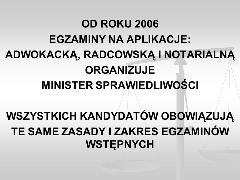 OD ROKU 2006 EGZAMINY NA APLIKACJE: ADWOKACKĄ, RADCOWSKĄ I NOTARIALNĄ ORGANIZUJE MINISTER SPRAWIEDLIWOŚCI WSZYSTKICH KANDYDATÓW OBOWIĄZUJĄ TE SAME ZASADY I ZAKRES EGZAMINÓW WSTĘPNYCH