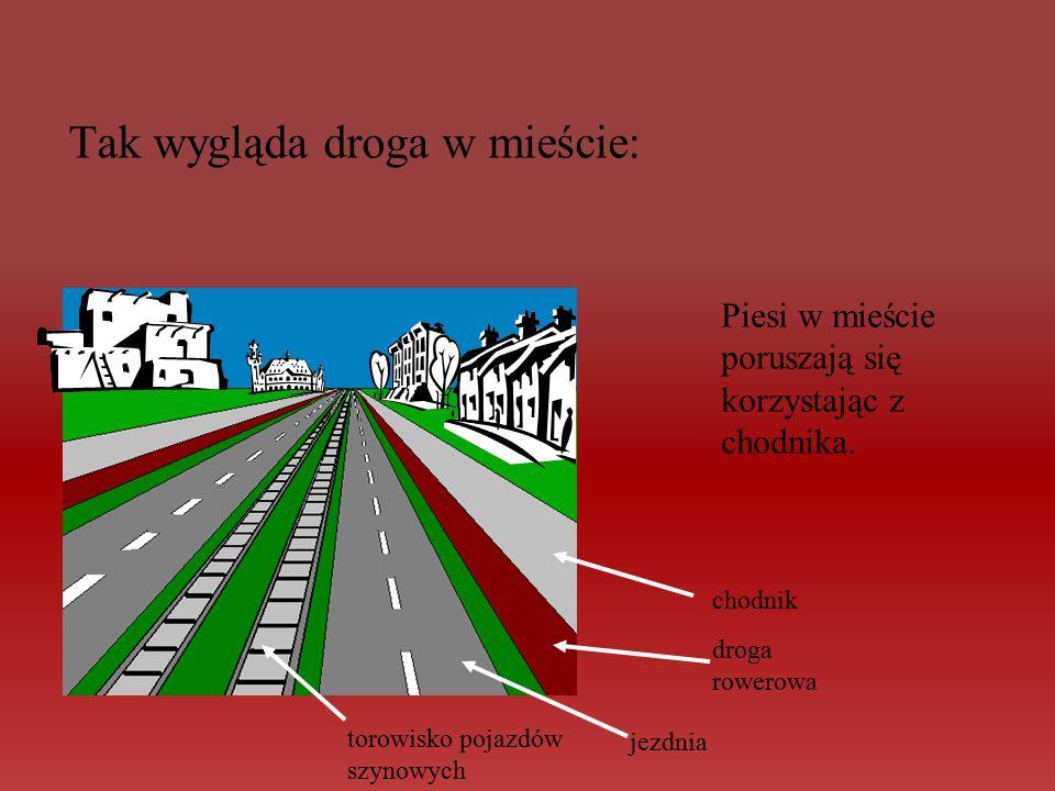 Tak wygląda droga w mieście: torowisko pojazdów szynowych jezdnia droga rowerowa chodnik Piesi w mieście poruszają się korzystając z chodnika.