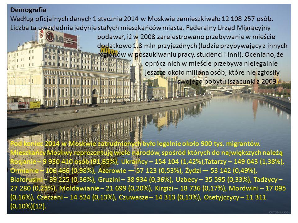 Demografia Według oficjalnych danych 1 stycznia 2014 w Moskwie zamieszkiwało 12 108 257 osób.
