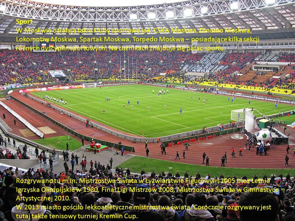Sport W Moskwie działają takie kluby sportowe jak: CSKA Moskwa, Dinamo Moskwa, Lokomotiw Moskwa, Spartak Moskwa, Torpedo Moskwa – posiadające kilka sekcji różnych dyscyplin sportowych.