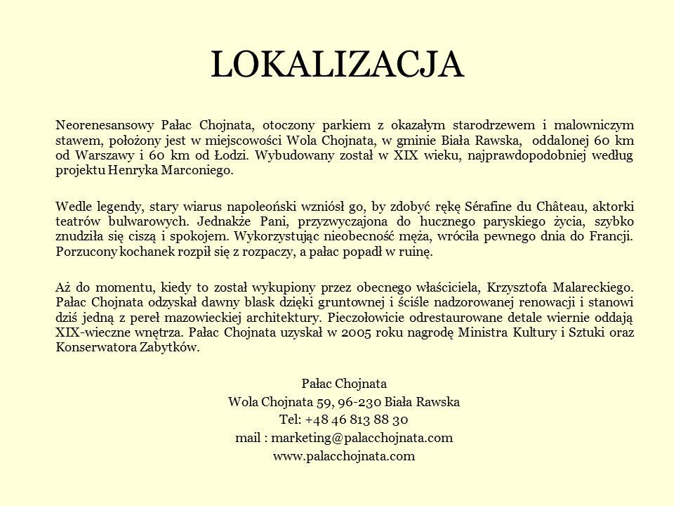 LOKALIZACJA Neorenesansowy Pałac Chojnata, otoczony parkiem z okazałym starodrzewem i malowniczym stawem, położony jest w miejscowości Wola Chojnata,