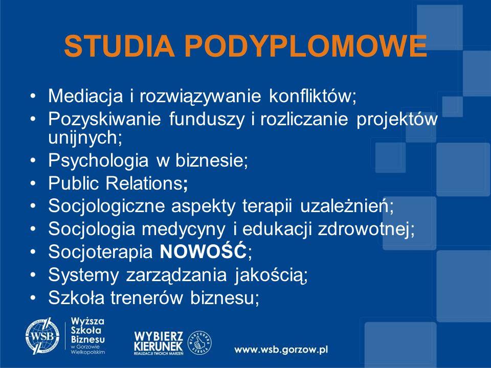 Mediacja i rozwiązywanie konfliktów; Pozyskiwanie funduszy i rozliczanie projektów unijnych; Psychologia w biznesie; Public Relations; Socjologiczne aspekty terapii uzależnień; Socjologia medycyny i edukacji zdrowotnej; Socjoterapia NOWOŚĆ; Systemy zarządzania jakością; Szkoła trenerów biznesu;