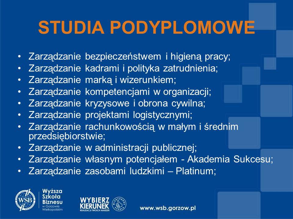 Zarządzanie bezpieczeństwem i higieną pracy; Zarządzanie kadrami i polityka zatrudnienia; Zarządzanie marką i wizerunkiem; Zarządzanie kompetencjami w organizacji; Zarządzanie kryzysowe i obrona cywilna; Zarządzanie projektami logistycznymi; Zarządzanie rachunkowością w małym i średnim przedsiębiorstwie; Zarządzanie w administracji publicznej; Zarządzanie własnym potencjałem - Akademia Sukcesu; Zarządzanie zasobami ludzkimi – Platinum; STUDIA PODYPLOMOWE