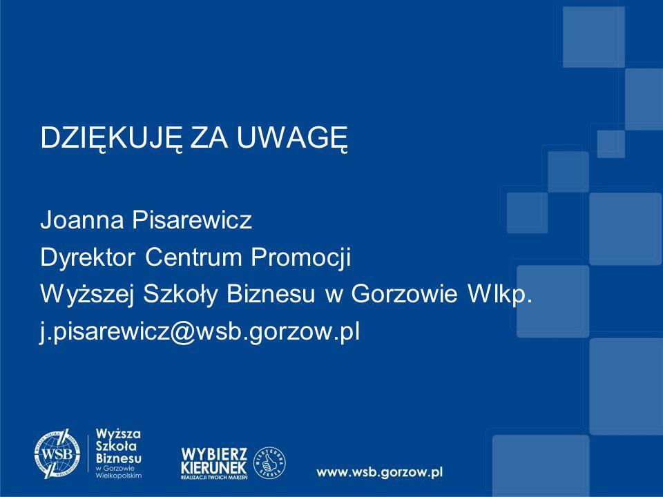 DZIĘKUJĘ ZA UWAGĘ Joanna Pisarewicz Dyrektor Centrum Promocji Wyższej Szkoły Biznesu w Gorzowie Wlkp.