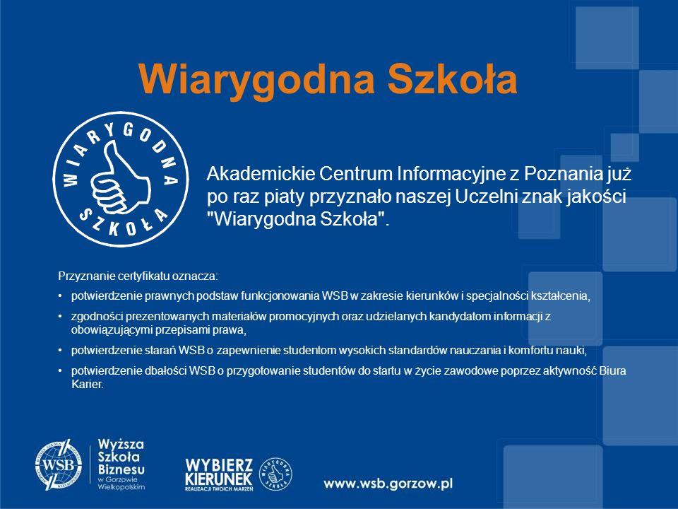 Wiarygodna Szkoła Akademickie Centrum Informacyjne z Poznania już po raz piaty przyznało naszej Uczelni znak jakości Wiarygodna Szkoła .