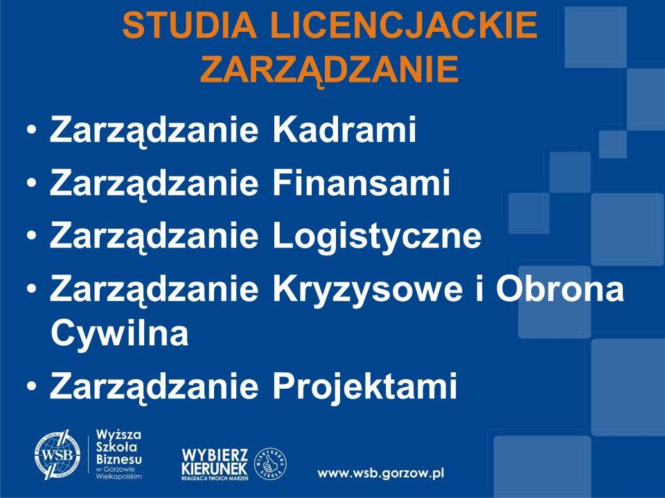 Zarządzanie Kadrami Zarządzanie Finansami Zarządzanie Logistyczne Zarządzanie Kryzysowe i Obrona Cywilna Zarządzanie Projektami STUDIA LICENCJACKIE ZARZĄDZANIE