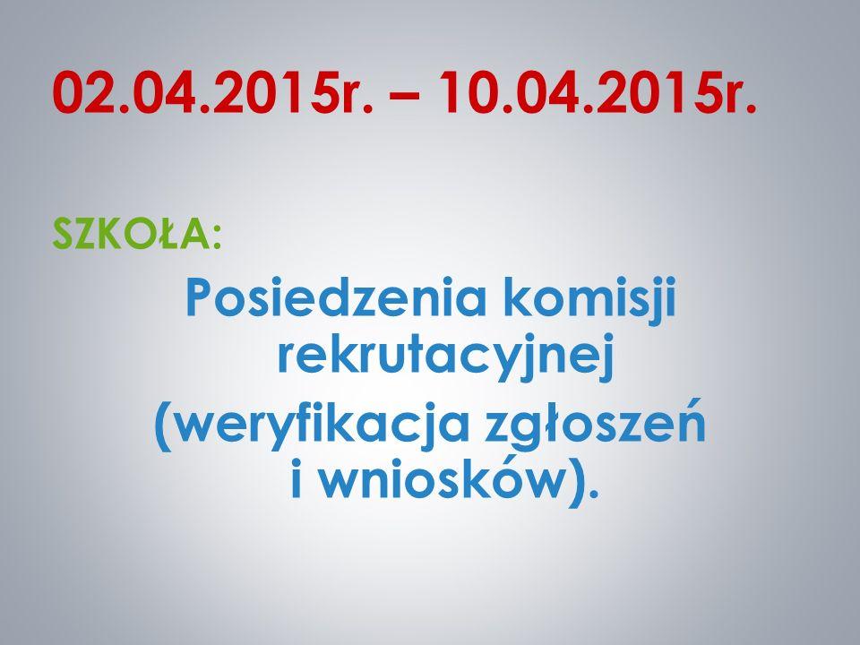 02.04.2015r. – 10.04.2015r. SZKOŁA: Posiedzenia komisji rekrutacyjnej (weryfikacja zgłoszeń i wniosków).