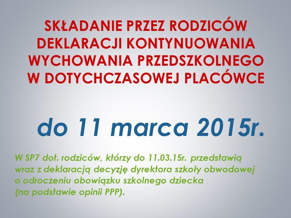 SKŁADANIE PRZEZ RODZICÓW DEKLARACJI KONTYNUOWANIA WYCHOWANIA PRZEDSZKOLNEGO W DOTYCHCZASOWEJ PLACÓWCE do 11 marca 2015r. W SP7 dot. rodziców, którzy d