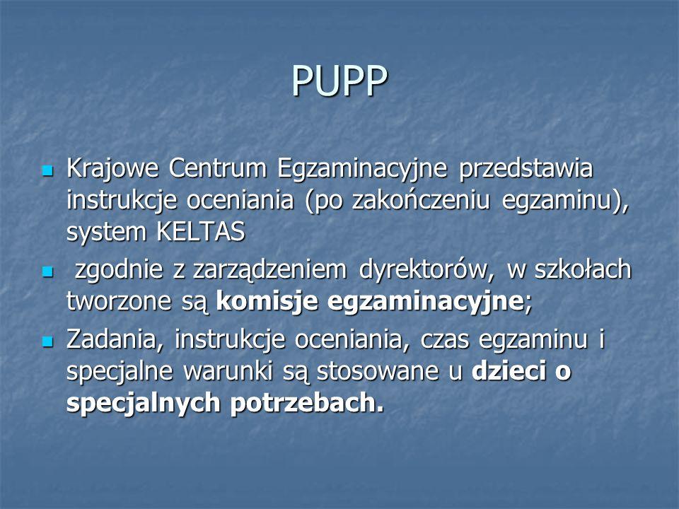 PUPP Krajowe Centrum Egzaminacyjne przedstawia instrukcje oceniania (po zakończeniu egzaminu), system KELTAS Krajowe Centrum Egzaminacyjne przedstawia instrukcje oceniania (po zakończeniu egzaminu), system KELTAS zgodnie z zarządzeniem dyrektorów, w szkołach tworzone są komisje egzaminacyjne; zgodnie z zarządzeniem dyrektorów, w szkołach tworzone są komisje egzaminacyjne; Zadania, instrukcje oceniania, czas egzaminu i specjalne warunki są stosowane u dzieci o specjalnych potrzebach.